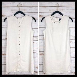 cynthia rowley // studded white linen shift dress